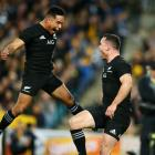 Aaron Smith and Ryan Crotty of the All Blacks celebrate a try by Crotty during The Rugby...