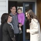 Labour leader Jacinda Ardern visits (from left) Tracy Douglas and Brooklyn (9), Loncey and Brylee...