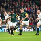 Tendai Mtawarira on the run during the Springboks' game against England earlier this year. Photo:...