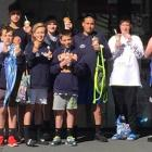 Members of the Balmacewen Intermediate sports team enjoy an ice cream at the AIMS Games in...