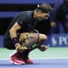 Rafa Nadal of Spain celebrates after defeating Juan Martin del Potro of Argentgina in their Men's...