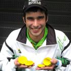 Gore bowler Sheldon Bagrie-Howley holds the jacks he smashed during this year's PBA. Photo:...