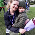 Cancer survivor Kirsty Wing (35) with her son, Gregor, after completing the Dunedin half marathon...