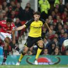 Marcus Rashford scores his second goal for Manchester United against Burton Albion this morning....