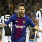 Barcelona's Lionel Messi celebrates one of his goals against Juventus this morning. Photo: Getty...