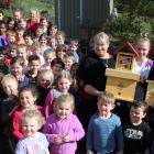 Warepa School principal Sue Adcock and pupils Keeley Puna (13), William Maze (10) and Lucy Clark ...