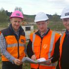 Looking over plans for the new wastewater treatment hub near Gore are (from left) Signal...