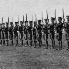 A squad of OBHS cadets engaged in rifle exercise. - Otago Witness, 19.9.1917.