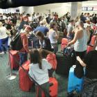 View at check-in counter at Orlando International Airport ahead of Hurricane Irma making landfall...