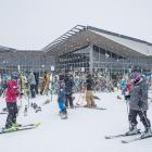Hardy skiers at the base building of Queenstown skifield Coronet Peak on Saturday. Photo: Coronet...