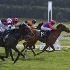 Chris Johnson scores one of his four winning rides at Oamaru yesterday as Secret Power wins the...