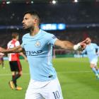 Manchester City's Sergio Aguero celebrates his 50th goal in European competitions. Photo: Getty...