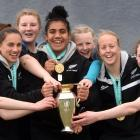 Members of the St Hilda's Collegiate under-15 rugby team share the spoils — the Women's World Cup...