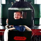 Skye O'Leary dresses as Josephine to celebrate the Double Fairlie steam locomotive's 145th...