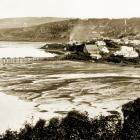Dunedin in 1857 and its first jetty, where the schooner Star, the first vessel built in Dunedin,...