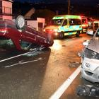 Emergency services at the scene of a crash in Forbury Rd. Photo: ODT