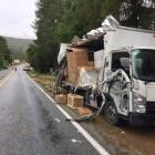 A furniture truck was ripped open in a crash near Arrowtown yesterday. Photo: Police