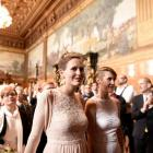Same-sex couples are seen after getting married during a media call at the town hall after the...