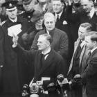 """British Prime Minister Nevile Chamberlain during his """"peace in our time"""" address at Heston..."""