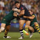 Jason Taumalolo in action for the Kiwis against the Kangaroos in Newcastle in May last year....