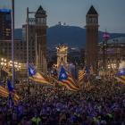 Crowds in Barcelona wave Catalan flags in preparation for the upcoming independence vote. Photo...