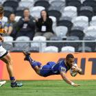 Jona Nareki of Otago scores a try during the round eight Mitre 10 cup match between Otago and Bay...