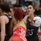 Maria Tutaia in action at goal shoot for the Silver Ferns against England. Photo: Getty Images