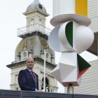 Dunedin Public Art Gallery director Cam McCracken pictured by Derek Ball's kinetic sculpture...