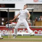 South Africa's lastest injured player, Morne Morkel, bowls during the first test against...