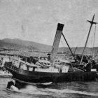 The s.s. Opouri, wrecked while entering the Greymouth Harbour. The vessel has been dismantled and...