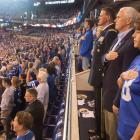 Vice President Mike Pence and Second Lady Karen Pence stand during the national anthem prior to...