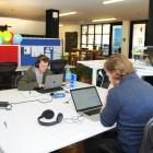 Petridish members at workstations yesterday with some of the offices in the background. Photos:...