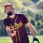 Ellis Park pitcher Jacob Ledlock delivers a pitch during a Waterloo Classic match against Dodgers...