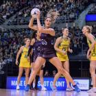 Te Paea Selby-Rickit catches the ball in mid-air for the Silver Ferns against Australia on Sunday...