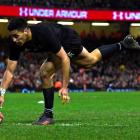 All Black wing Rieko Ioane scores against Wales on Sunday. Photo: Reuters