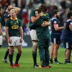 South African players celebrate their victory after the match. Photo Reuters