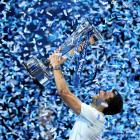 Grigor Dimitrov celebrates with the trophy after his victory over David Goffin. Photo Reuters