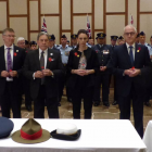 Preparing to lay poppies, from left, David Parker, Winston Peters, PM Jacinda Ardern and...