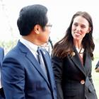 New Zealand Prime Minister Ardern arrives for the APEC CEO Summit in Danang. Photo: Reuters