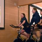Columba College pupils (from left) Madi Lobb (11), Caitlin Deans (17) and Neve Graamans (12) try...