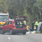 Emergency services at the crash scene yesterday. Photo: Hokitika Guardian