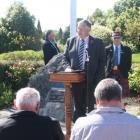IMG 7122: Eric Roy, guest speaker of Invercargill addressing the gathering. (Left Back): Jeff...