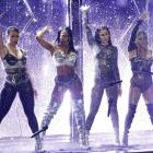 Fifth Harmony, including Dinah Jane (far-left) drop their microphones as they perform at this...