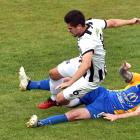Hawkes Bay United midfielder  Alex Polezevic (left) and Southern United midfielder Danny Ledwith...