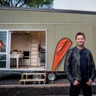 Amazing Spaces presenter George Clarke stands outside the Mitre 10 tiny house, and Interior views...