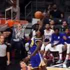 New Golden State Warrior Jordan Bell prepares to throw down a dunk against the LA Clippers...