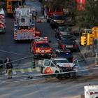 Emergency crews attend the scene of an alleged shooting incident on West Street in Manhattan....