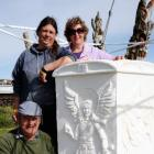 Three of the four carvers from Waimate (back, from left) Diana Whipp and Sylvia Tulett,  and...