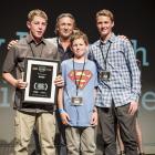 Benaiah (15) and Thomas Dunn (12), Jack McAtamney (15), all of Mosgiel, and judge Tim Balme at...