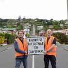Dunedin City Council transport and engineer road safety team leader Hjarne Poulsen (left) and...